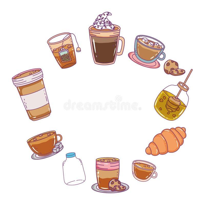 Isolerad illustration för vektor för bagerimatdesign vektor illustrationer