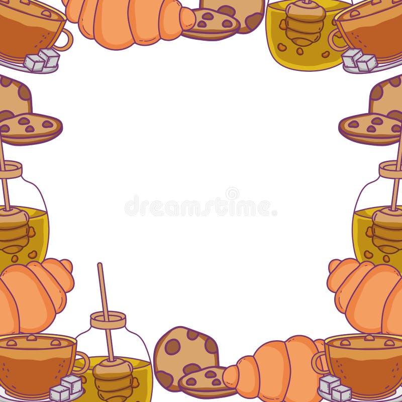 Isolerad illustration för vektor för bageriramdesign royaltyfri illustrationer