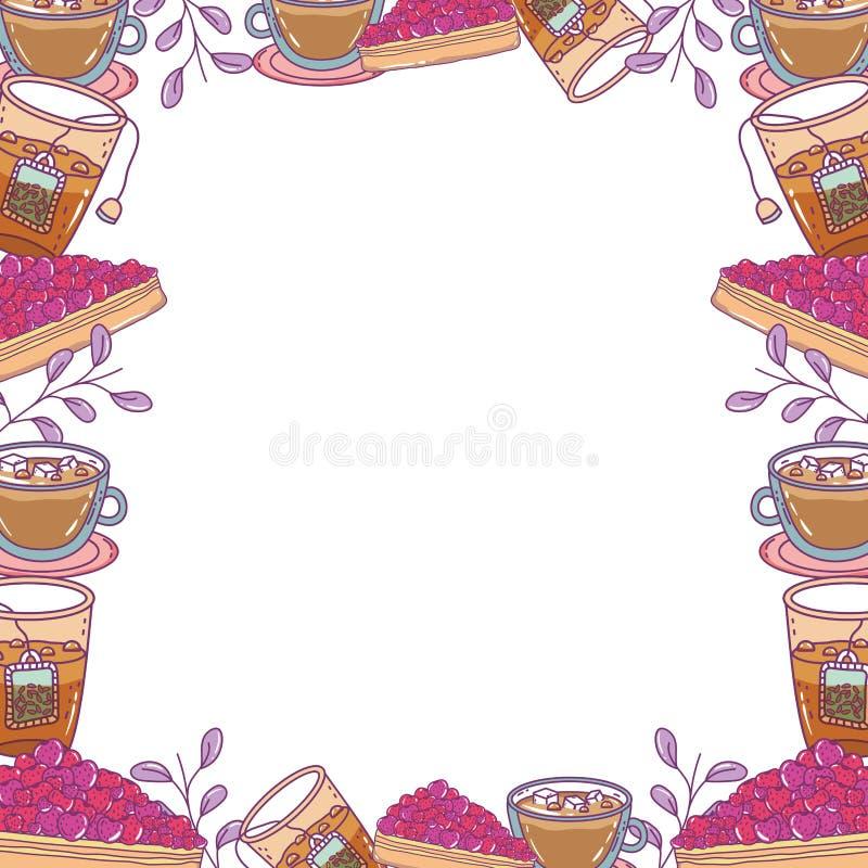 Isolerad illustration för vektor för bageriramdesign vektor illustrationer