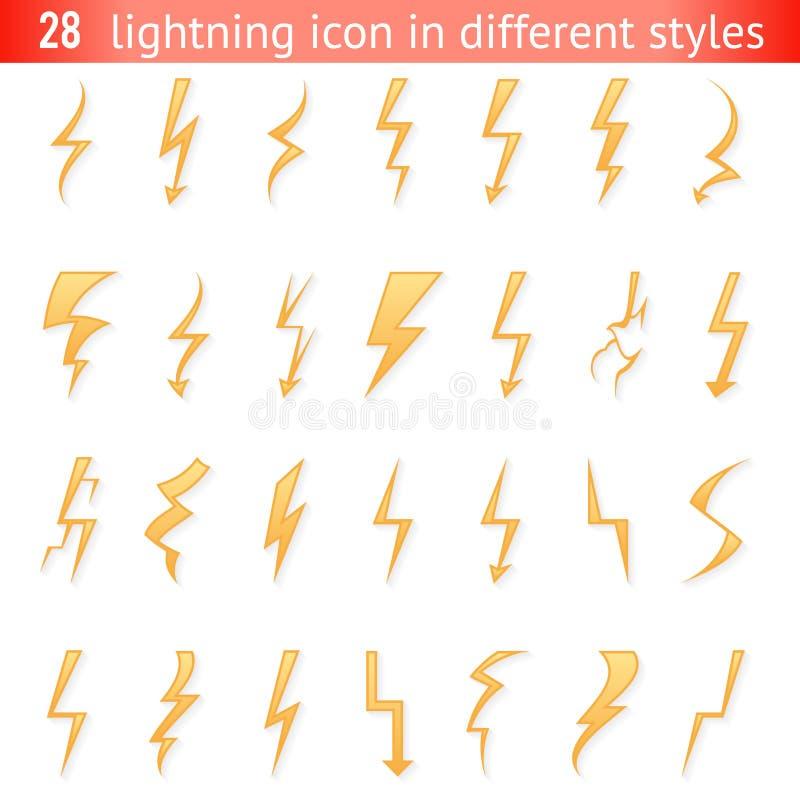 Isolerad illustration för vektor för beståndsdelar för fastställd design för symboler för pictogram för blixtåskabult vektor illustrationer