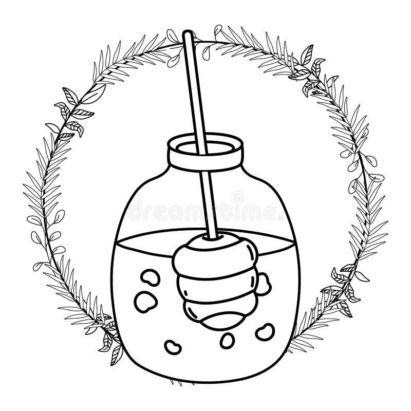 Isolerad illustration för vektor för honungkrusdesign stock illustrationer