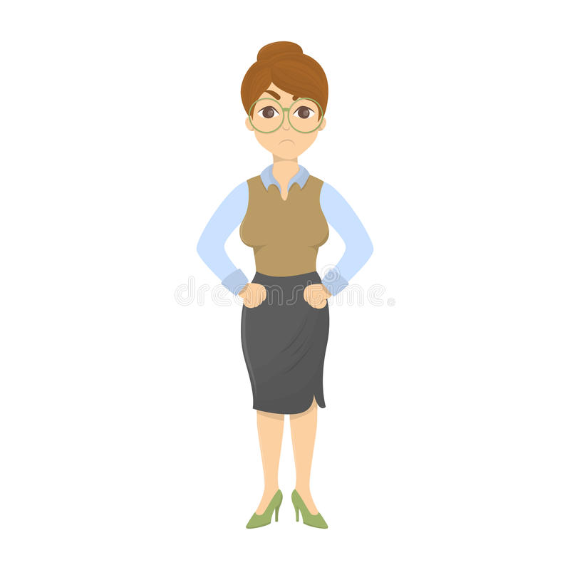 Isolerad ilsken lärare royaltyfri illustrationer