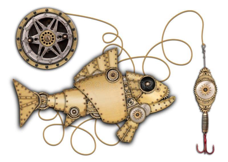 Isolerad industriell mekanisk fisk royaltyfri fotografi