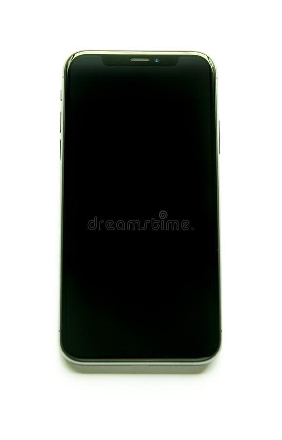 Isolerad Iphone X främre sikt royaltyfri fotografi