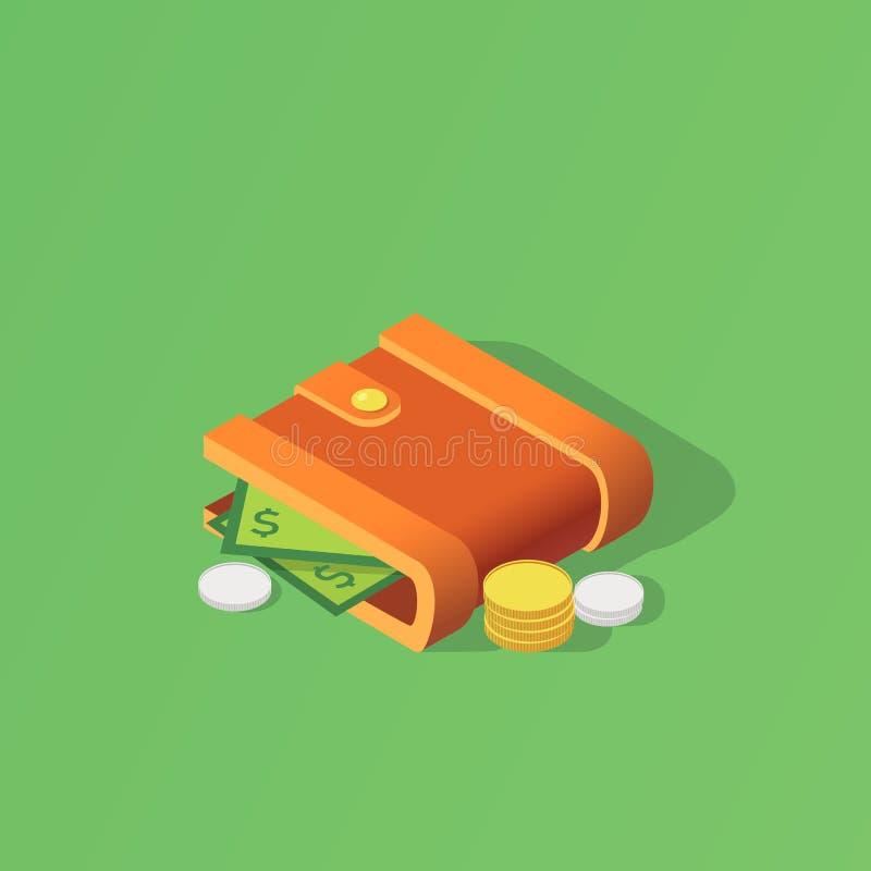 Isolerad isometrisk symbol för plånbok Skapat för mobil, rengöringsduk, dekor, tryckprodukter, applikationer också vektor för cor arkivfoton