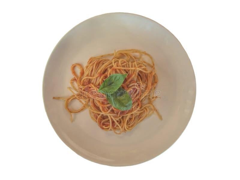 Isolerad italiensk spagetti med tomatsås och basilika royaltyfria bilder
