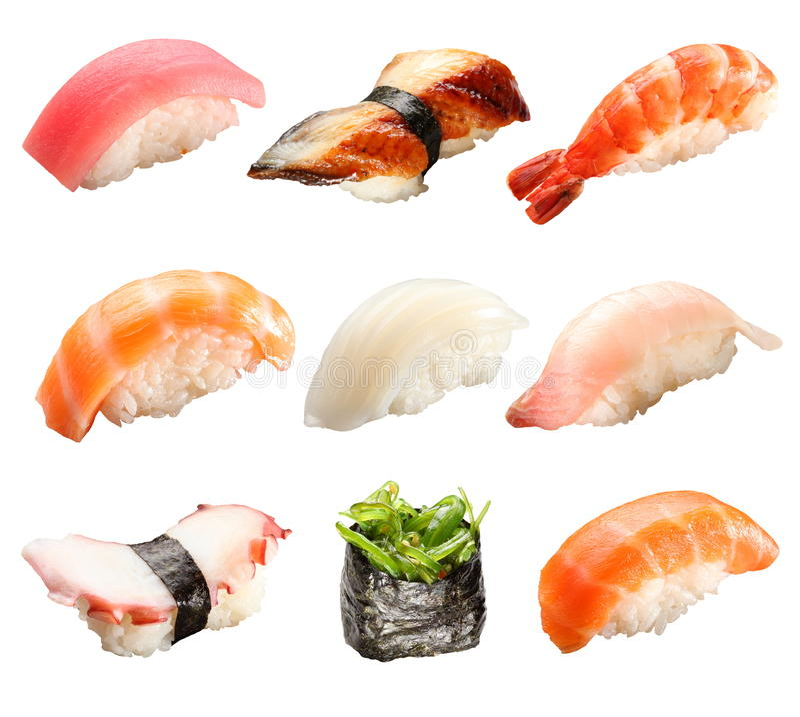 isolerad japansk sushiwhite arkivfoto
