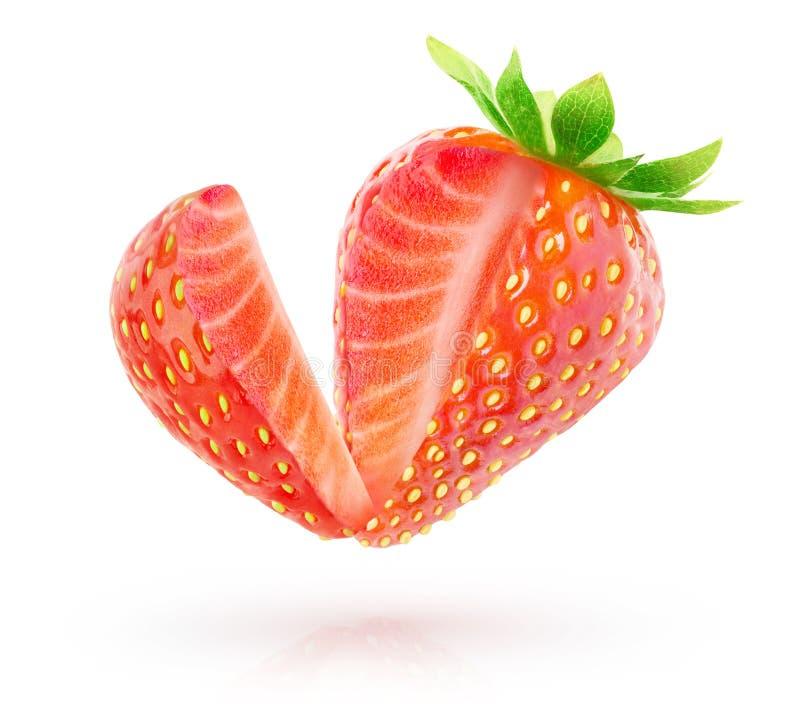 Isolerad jordgubbe med det klippta ut stycket fotografering för bildbyråer