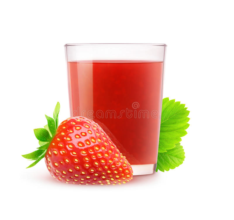 Isolerad jordgubbefruktsaft royaltyfri fotografi