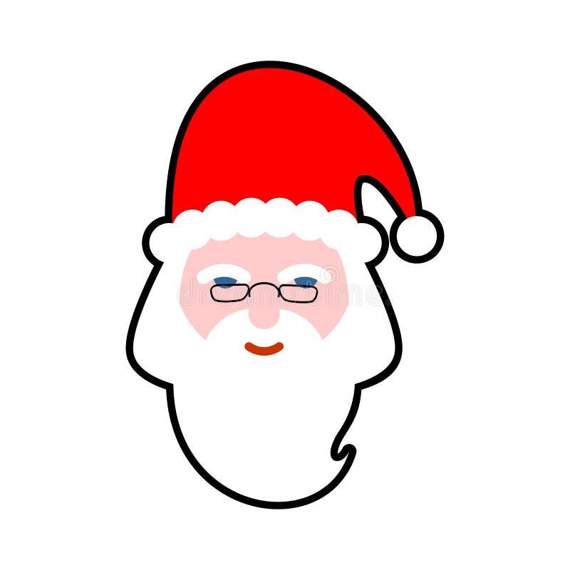 Isolerad jultomtenframsida Skägg och mustasch Röd hatt Isolerat på vitbakgrund royaltyfri illustrationer