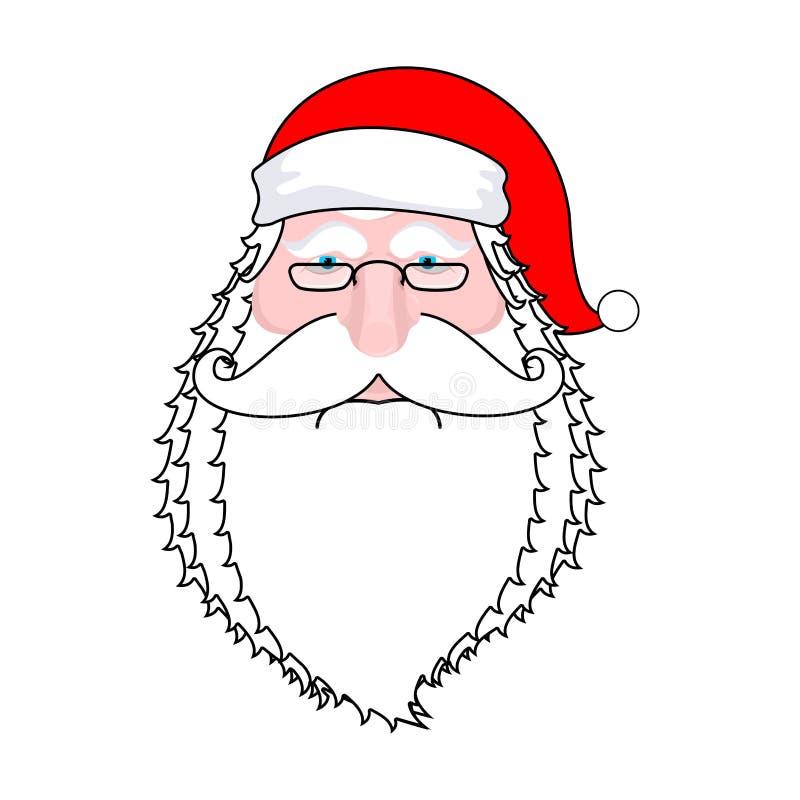 Isolerad jultomtenframsida Skägg och mustasch Röd hatt Isolerat på vitbakgrund vektor illustrationer