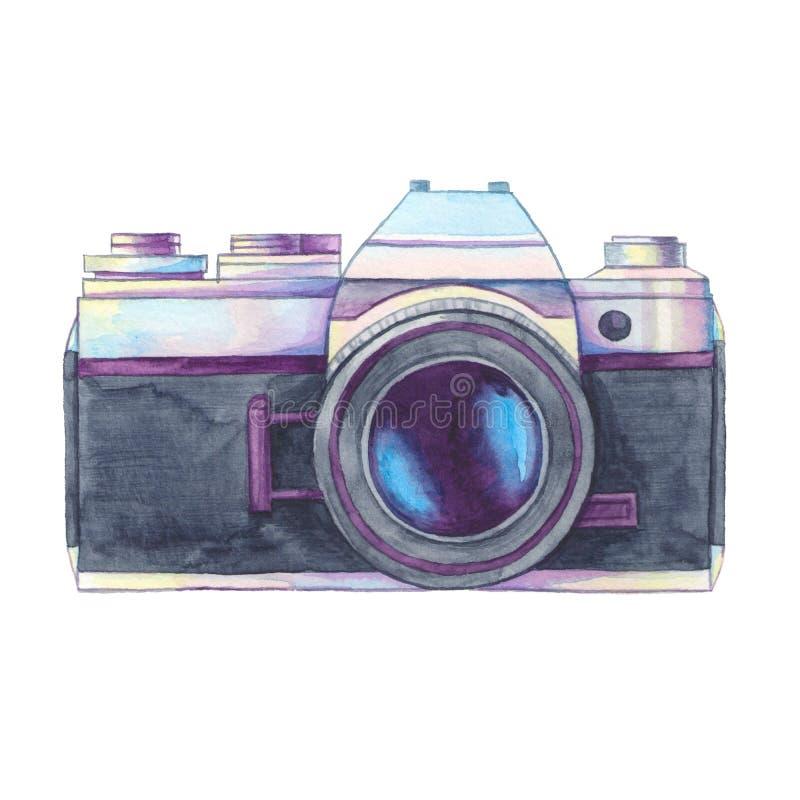 Isolerad kamera för vattenfärgtappningfoto royaltyfri illustrationer