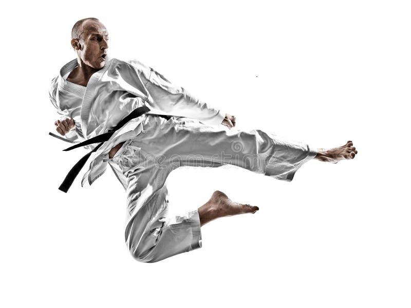 Isolerad karatemanutbildning royaltyfria foton