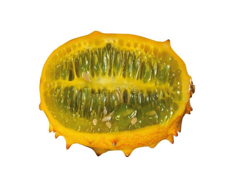 Isolerad Kiwano melon royaltyfria foton