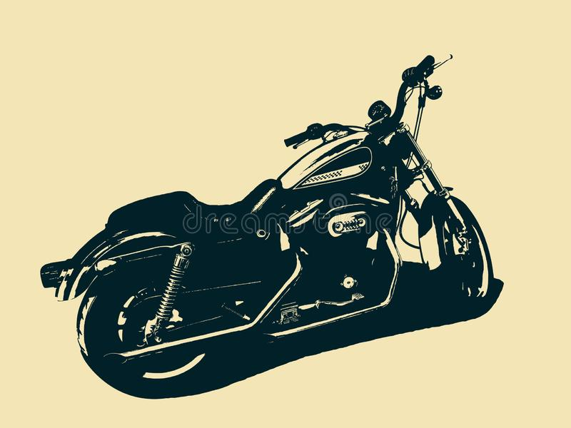 Isolerad klassisk motorcykel Svartvit illustration royaltyfri illustrationer