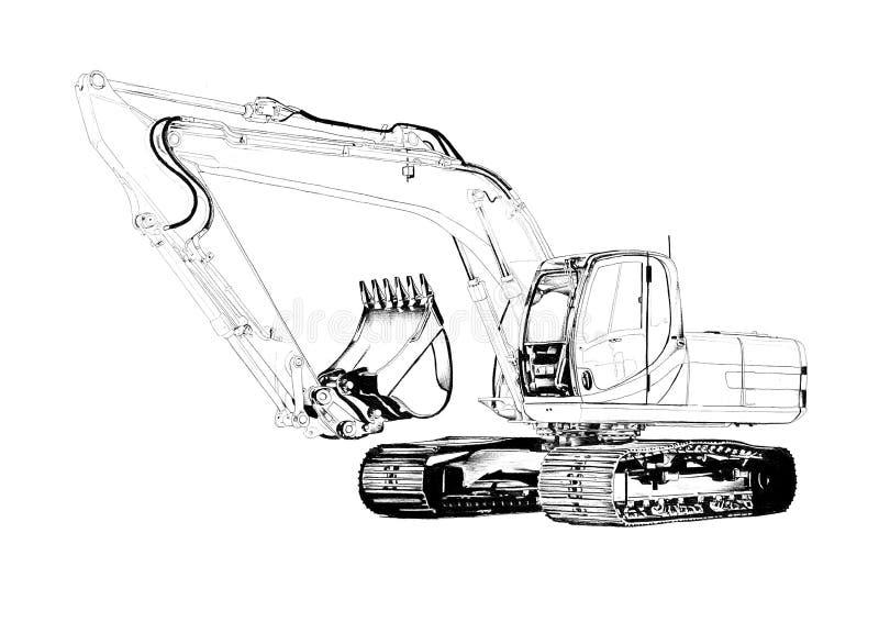 Isolerad konstteckning för grävskopa illustration royaltyfri illustrationer