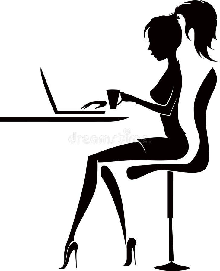 isolerad kontorswhite för bakgrund affärskvinna vektor illustrationer