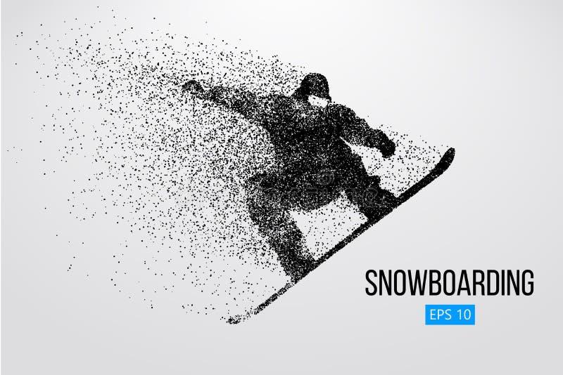 Isolerad kontur av en snowboarderbanhoppning också vektor för coreldrawillustration