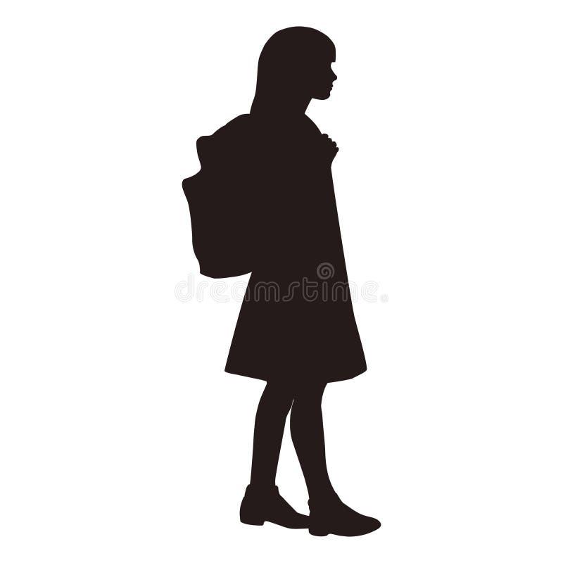 Isolerad kontur av ett skolflickaanseende med ett ryggsäckinnehav på remmen av en ryggsäck stock illustrationer