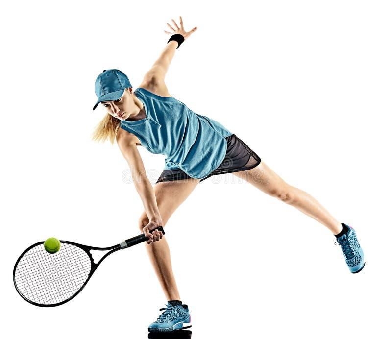 Isolerad kontur för tennis kvinna arkivfoton