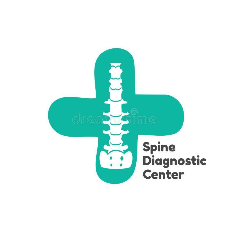 Isolerad konturillustration för vektor mänsklig rygg Ryggen smärtar vårdcentralen, kliniken, institutet, rehabilitering vektor illustrationer