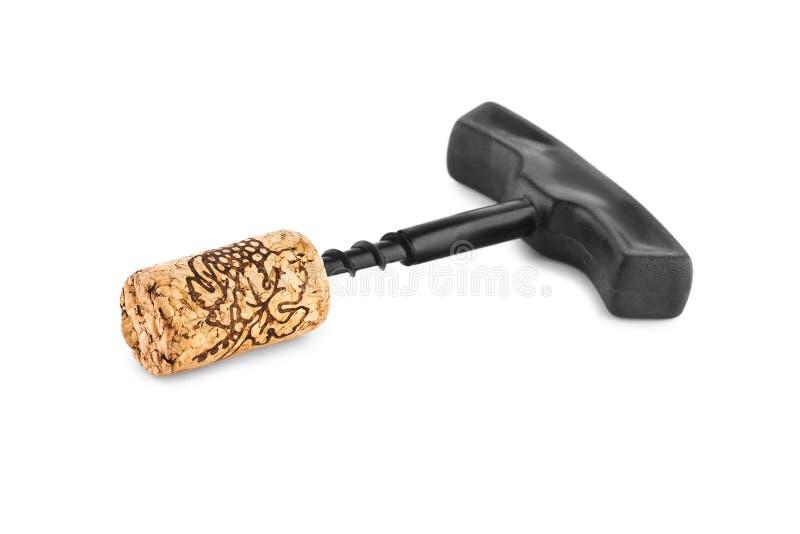 isolerad korkkorkskruv royaltyfri foto
