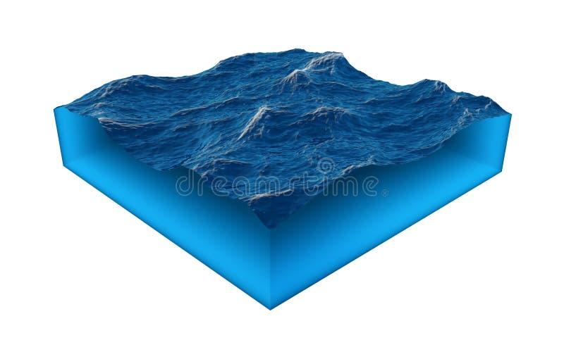 Isolerad kub av vatten på en vit bakgrund royaltyfri illustrationer