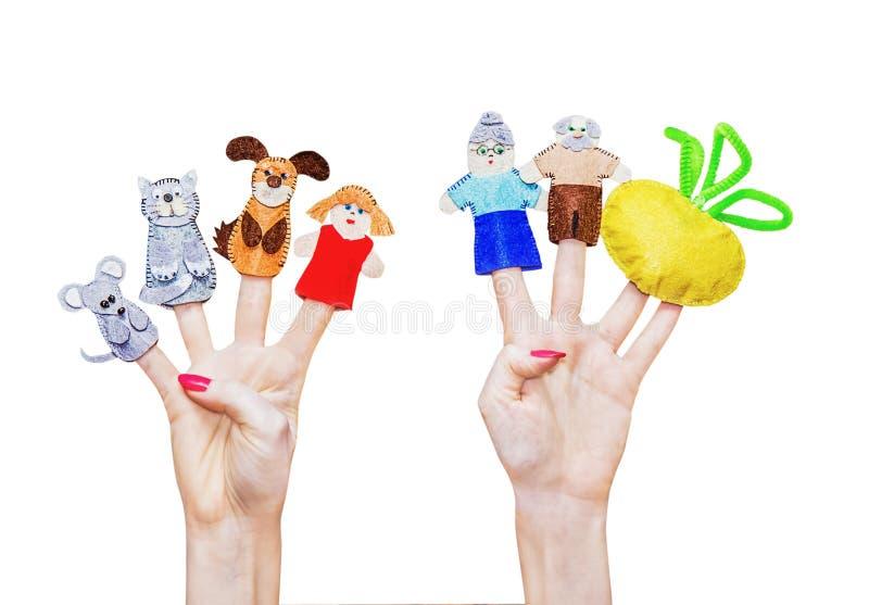 Isolerad kvinnas händer med fingerdockan arkivfoton