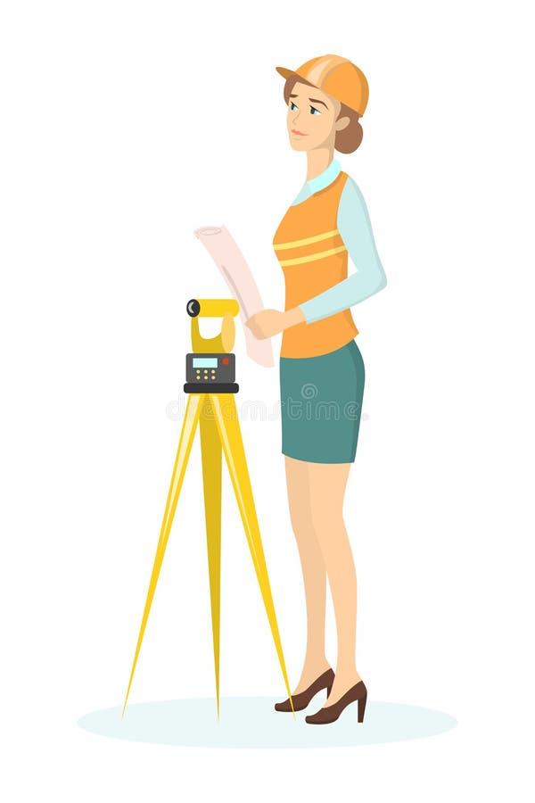 Isolerad kvinnlig byggmästare vektor illustrationer