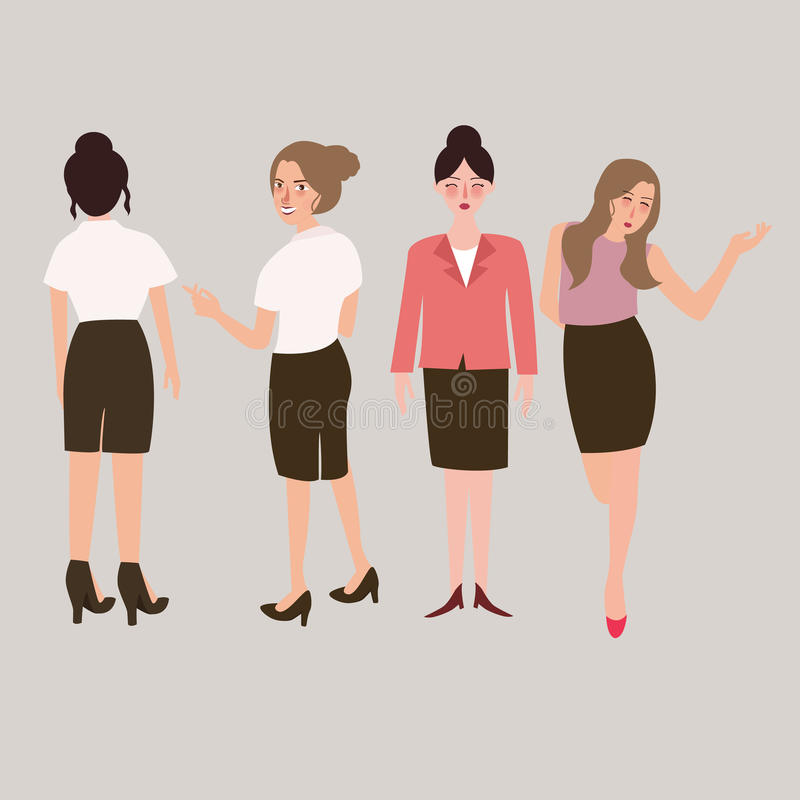 Isolerad kvinnlig full kropp för affärskvinna anseende royaltyfri illustrationer