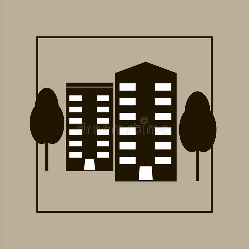 Isolerad lägenhetvektor Ofice byggnad Plan vektorillustra vektor illustrationer