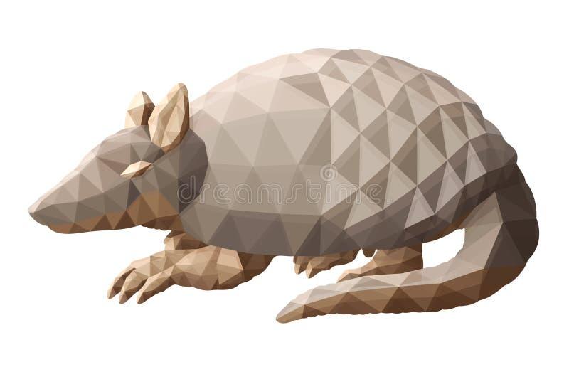 Isolerad låg poly konst med den dekorativa bältdjuret vektor illustrationer