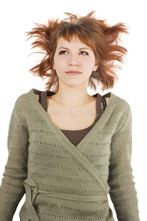 isolerad liggande tröjawhite för flicka green arkivbilder