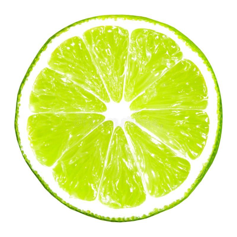 isolerad limefruktskiva royaltyfri fotografi