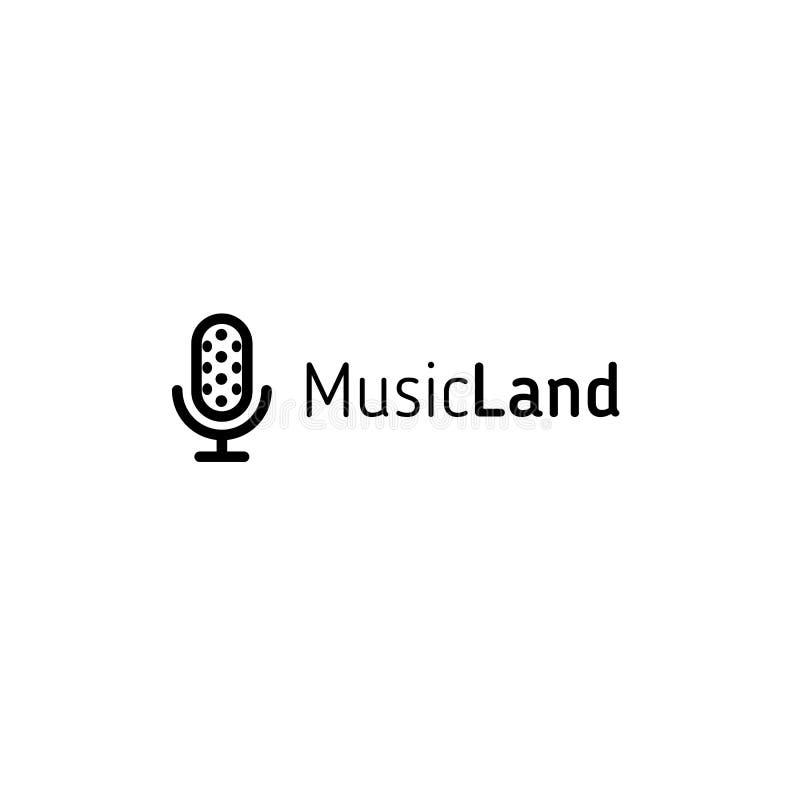 Isolerad linjär mikrofonlogo för vektor för musikfestival eller radiostation, karaokestång eller ljudstudio Enkel logotyp vektor illustrationer