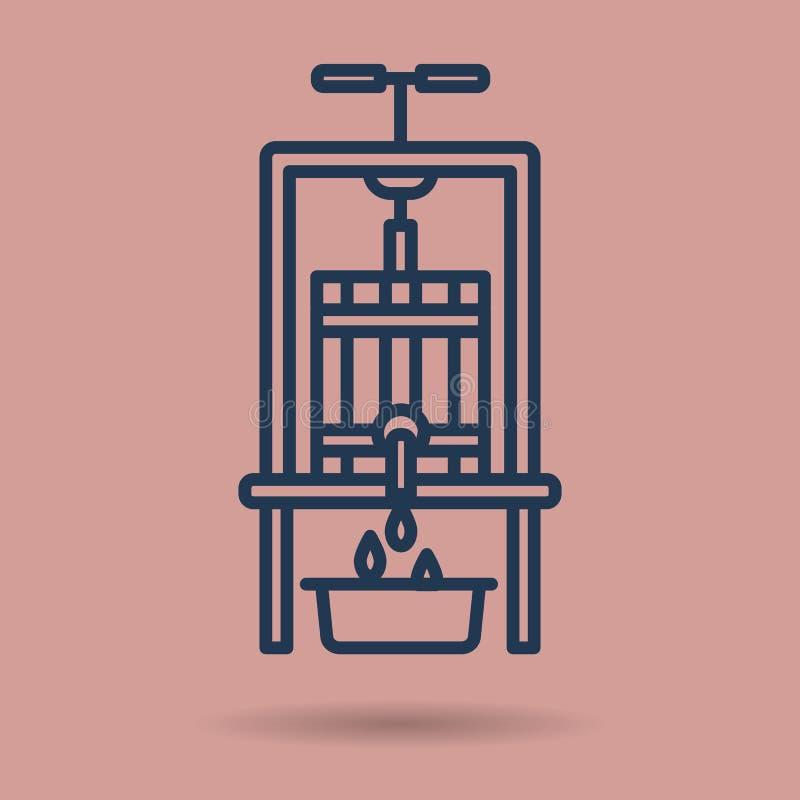 Isolerad linjär symbol - vinpress royaltyfri illustrationer