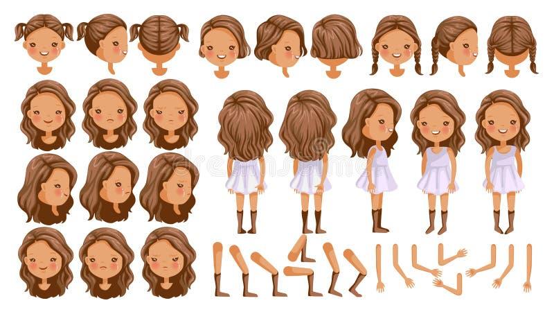 Isolerad liten flicka stock illustrationer