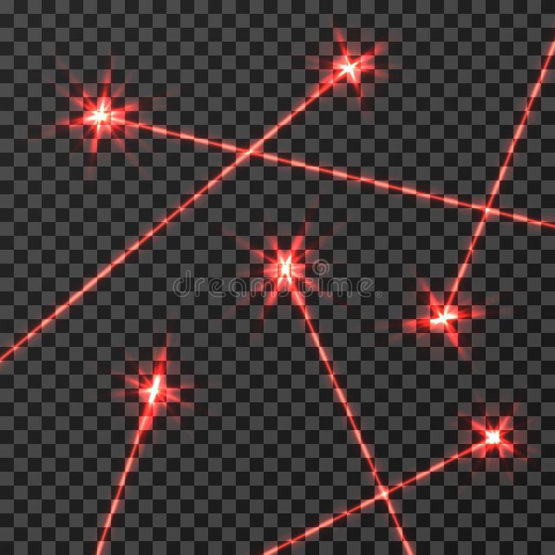 Isolerad ljus effekt för röd laserstrålevektor på genomskinlig rutig bakgrund stock illustrationer