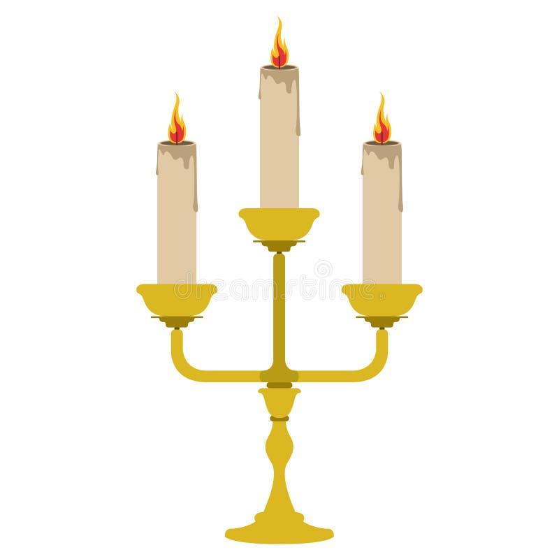 Isolerad ljusstake med tända stearinljus royaltyfri illustrationer