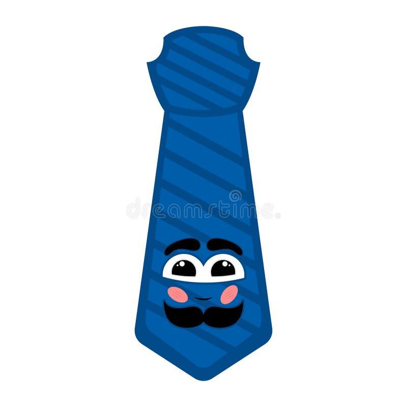 Isolerad lycklig slips med en mustasch royaltyfri illustrationer
