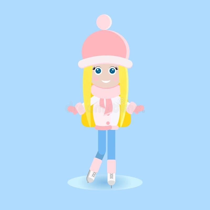 Isolerad lycklig ung blond flicka i varm kläderiice som åker skridskor på isbanan i plan stil royaltyfri illustrationer