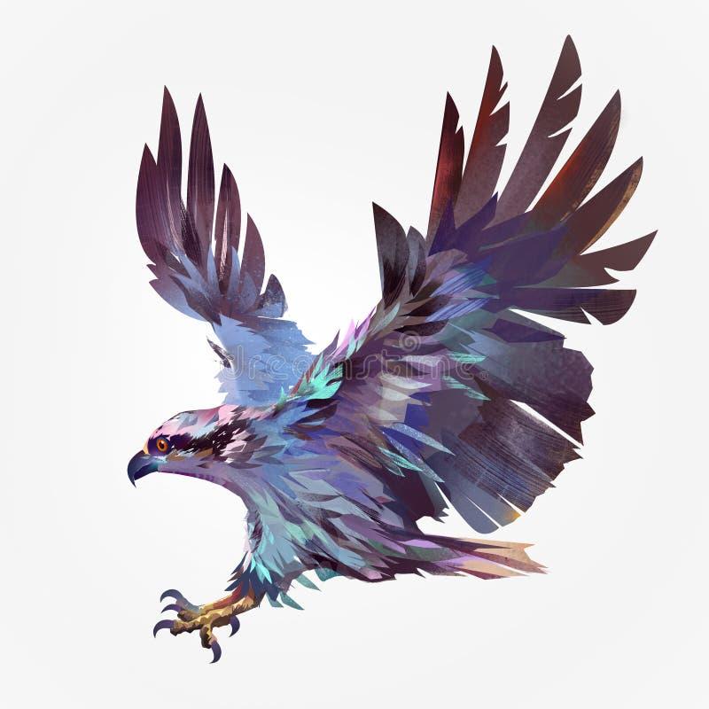 Isolerad målad hök för flygfågel stock illustrationer