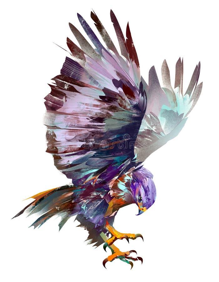 Isolerad målad hök för flygfågel vektor illustrationer