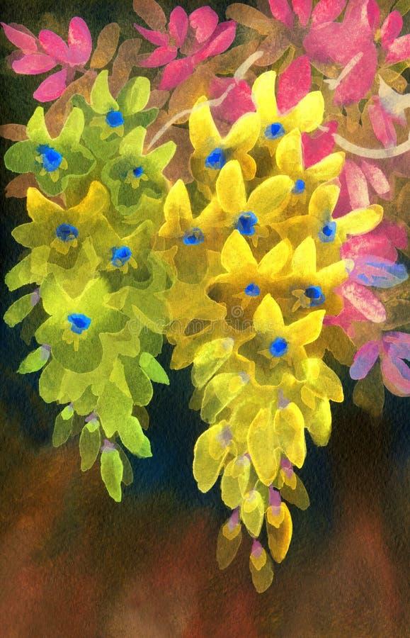 isolerad målande white för akryl bakgrund Frodiga klungor av den gula wisteriaen stock illustrationer