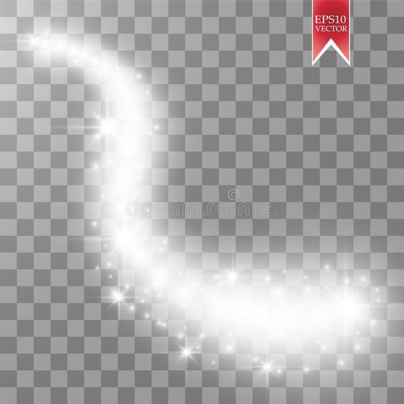 Isolerad magisk glödande effekt för gnistavirvelslinga på genomskinlig bakgrund Bokeh blänker våglinjen med flygbrusande vektor illustrationer