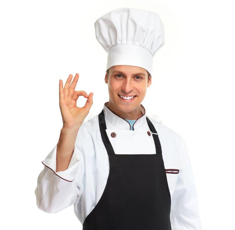 isolerad man för bakgrund kock över white arkivbild