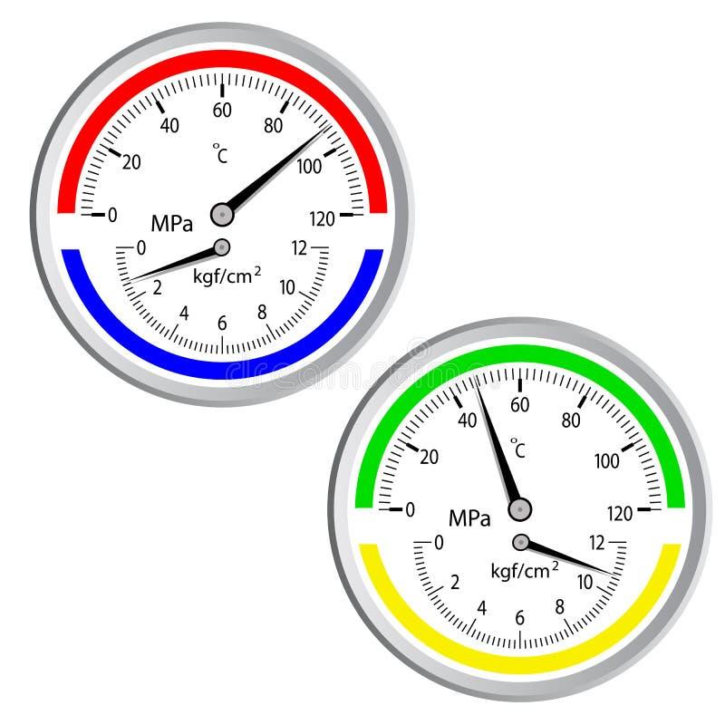 isolerad manometerwhite för bakgrund gas vektor illustrationer
