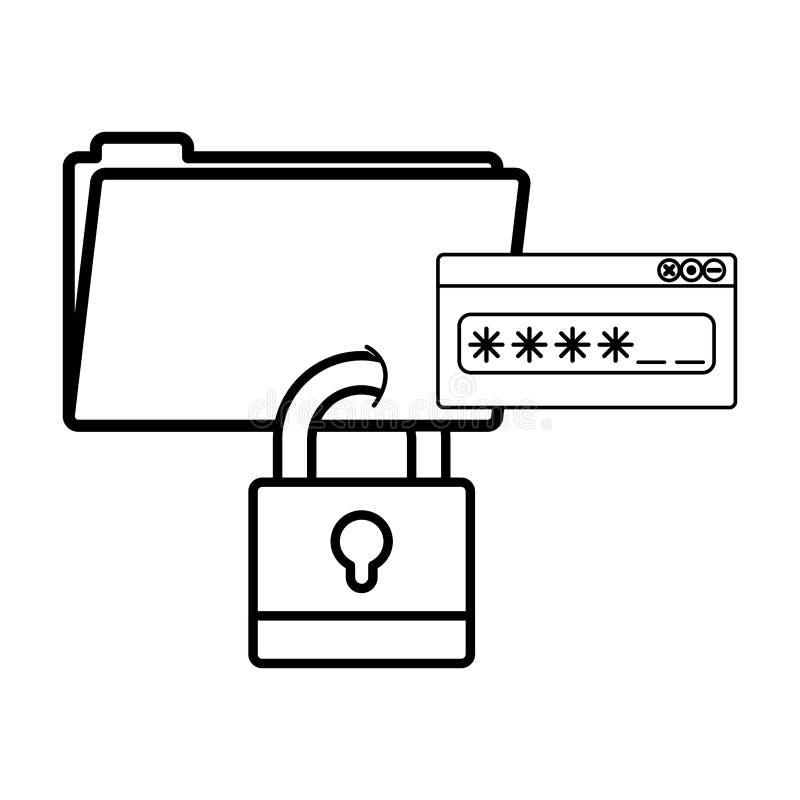 Isolerad mapp- och hänglåsdesign vektor illustrationer