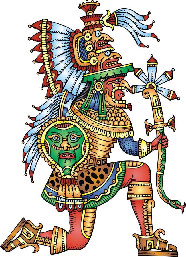 Isolerad Mayan krigare stock illustrationer
