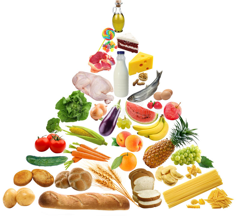 isolerad meat för brödostmat mjölkar frukt vita mutterpyramidgrönsaker royaltyfria bilder